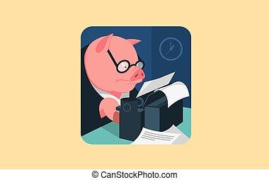 świnia, litera, maszyna do pisania