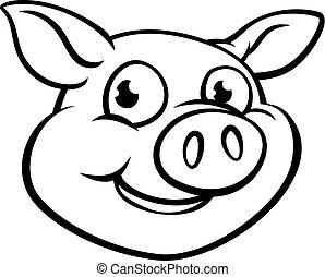 świnia, litera, rysunek, maskotka