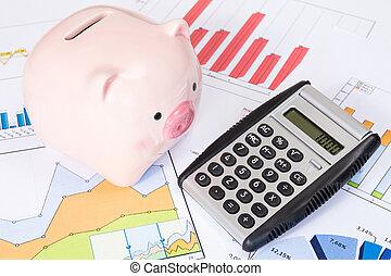 świnka, handlowy, kalkulator, wykresy, bank