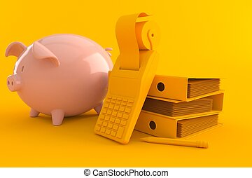 świnka, księgowość, bank, tło