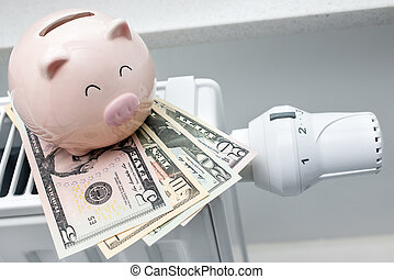 świnka, pieniądze, termostat, bank, ogrzewanie