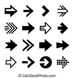 šípi, ikona, set., vektor
