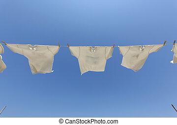 šňůra na prádlo, t- košile, oběšení