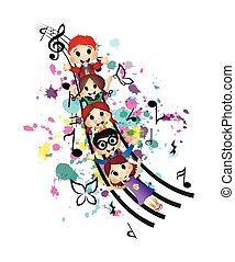 šťastný, děti, a, hudba