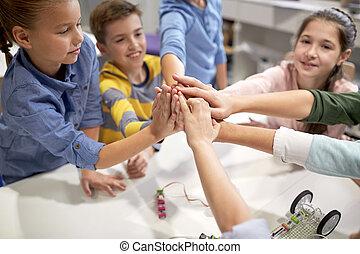 šťastný, děti, dělání, silný 5, v, robotics, škola