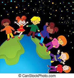 šťastný, děti, dovádět, spolu.