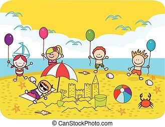 šťastný, děti, hraní, balloon, v, pláž