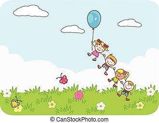 šťastný, děti, hraní, balloon, v, sad