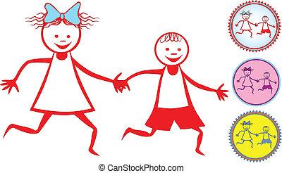 šťastný, děti, ikona