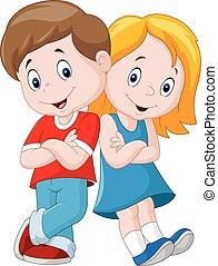 šťastný, děti, karikatura, osamocený, oproti neposkvrněný, grafické pozadí