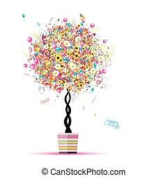 šťastný, dovolená, komický, strom, s, obláček, do, hrnec, jako, tvůj, design