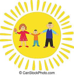 šťastný, family:, tatínek, a, syn