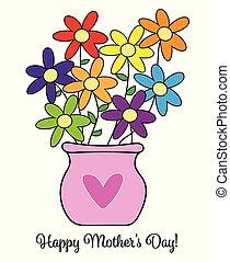 šťastný, květiny, den, matký