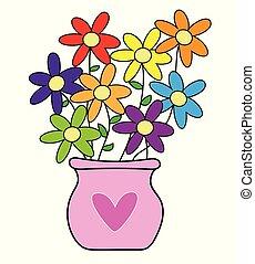 šťastný, květiny, den, znejmilejší