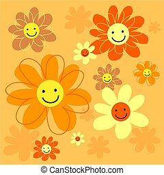 šťastný, květiny, kachlík
