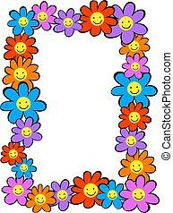 šťastný, květiny