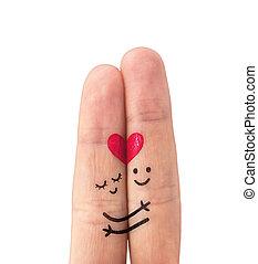 šťastný, láska, dvojice