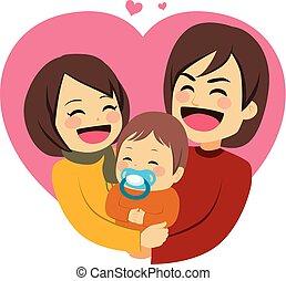 šťastný, láska, rodina