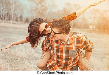 šťastný, láska