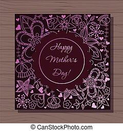 šťastný, matký, dat, karta, dále, dřevěný, grafické pozadí