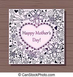šťastný, matký, dat, karta, s, nitro, dále, dřevěný,...