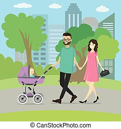 šťastný, mláde rodinný, s, jeden, malý přeprava, chůze, od park