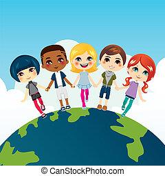 šťastný, multi- etnický, děti