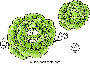 šťastný, nezkušený, karikatura, zelí, rostlina