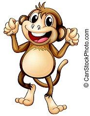 šťastný, opice, tančení, sám
