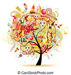 šťastný, oslava, komický, strom, s, dovolená, symbol
