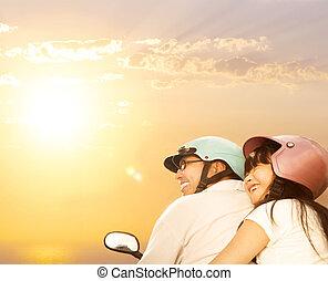šťastný, otec, s, dcera, dále, ta, jezdit na kole