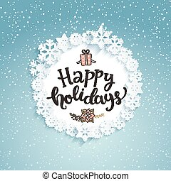 šťastný, prázdniny, pozdrav, card.