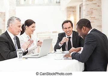 šťastný, setkání, business národ