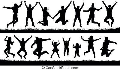 šťastný, skákání, národ, silhouettes, set., fandění, young dítě, audience., odraz, trampoline., osamocený, vektor, ilustrace