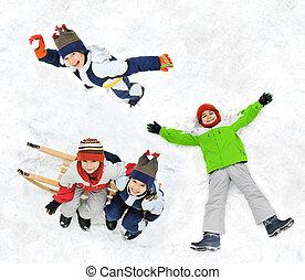 šťastný, sněžit, kůzle