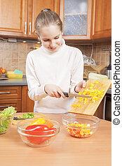 šťastný, teenage sluka, vaření, dále, ji, potvrdit