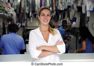 šťastný, vlastník, o, jeden, hubený cleaning, povolání