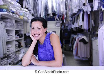 šťastný, vlastník, o, jeden, prádelna