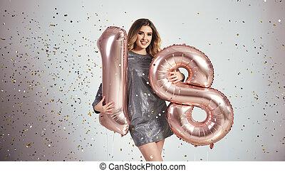 šťastný, young eny, s, obláček, proslulý, ji, narozeniny