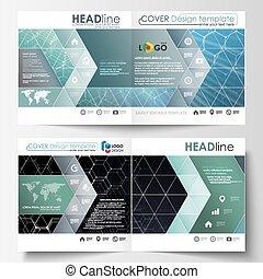 šablona, jako, čtverhran konstruovat, bi, složit, brožura, časopis, flyer., leták, deska, klidný, editable, vektor, layout., chemie, model, šestiúhelníkový, molekula, structure., lék, věda i kdy technika, concept.