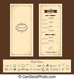 šablona, jako, menu, karta