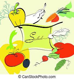 šablona, jako, salát, menu