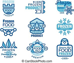 šablona, konzervativní, produkt, dát, zamrzlý, rukopis, strava, barvy, vektor, emblém, osvětlení, nahý