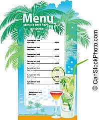 šablona, navrhovat, o, koktejl, menu