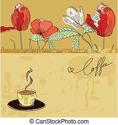 šablona, s, jeden, číše k káva