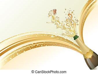 šampaňské, celebrovat, grafické pozadí