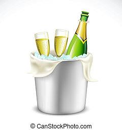 šampaňské mikroskop, a, láhev, do, vědro