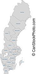 šedivý, švédsko, mapa