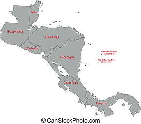 šedivý, amerika, centrální, mapa
