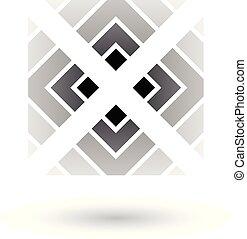 šedivý, dopisy x, ikona, s, čtverec, a, trojúhelník, vektor, ilustrace